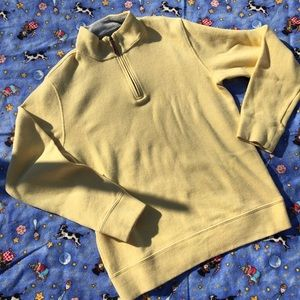 yellow lands end quarter zip sweater